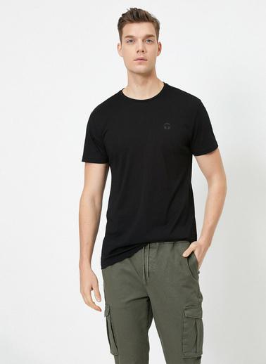 Koton Bisiklet Yaka Kisa Kollu %100 Pamuklu T-Shirt Siyah
